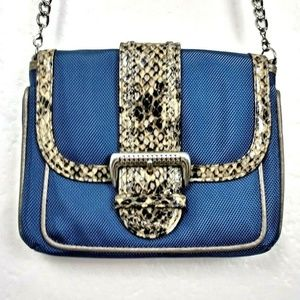 Brighton Blue Canvas Animal Print Trim Crossbody